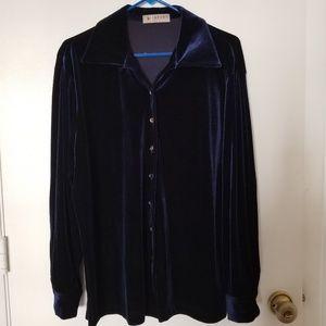 Stretch Velvet Luxury Long Sleeve Blouse